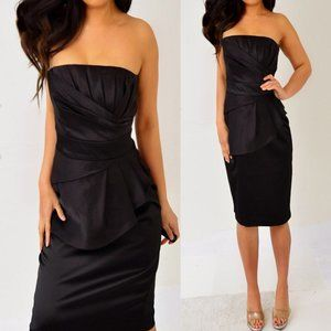 White House Black Market Tube Peplum Dress 10 8 M